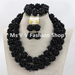 $enCountryForm.capitalKeyWord Australia - 2018 new arrival Chunky black Nigerian Bridal Beads Necklace Set African Costume Beaded Wedding Jewelry Set Free Shipping