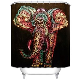 Customs 36 48 60 66 72 80 (W) x 72 (H) Inch Shower Curtain Africa Elephant Waterproof Polyester Fabric Shower Curtain