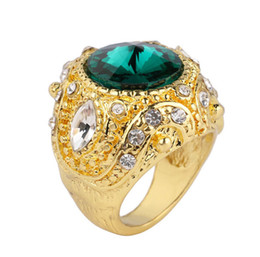 gold plated rings for men 2019 - Blue Green Red Big Gemstone Rings Luxury Gold Plating Crown Jewelry For Men Wedding Ring Brand New discount gold plated