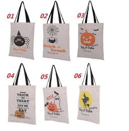 $enCountryForm.capitalKeyWord Canada - 6 style Halloween Hand bag 14*19inch Canvas bags cotton Drawstring Bags Pumpkin devil spider Hallowmas Gifts Sack Bags