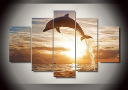 Chinese  5 Piece HD Printed dolphin ocean seascape Group Painting room decor print poster picture canvas Free shipping manufacturers