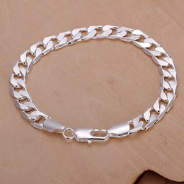 $enCountryForm.capitalKeyWord Canada - hot sale 8M flat sideways men's 925 silver charm bracelet 20X0.8cm DFMWB246,sterling silver plated jewelry bracelet