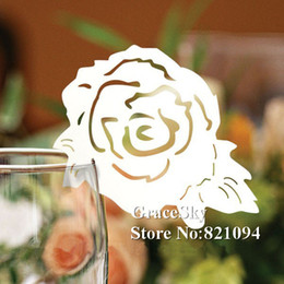 $enCountryForm.capitalKeyWord Canada - 60PCS Free Shipping Laser Cutting Flower Rose Paper Wine Glasses Place Seat Name Card Butterfly Shaped for Paper Wedding Party Decorations