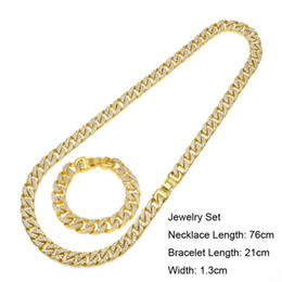 24k gold asian chain necklace 2021 - Men Hip Hop Bling Jewelry Set 24K Gold Plated Full CZ MIAMI CUBAN LINK Necklace & Bracelet Iced Out Chains 76cm 21cm