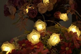 romantic pink wedding party decorations NZ - Romantic 2m 20 LED Rose String Fairy Lights Battery Operated Flower Wedding Party Decoration Lights Lamp