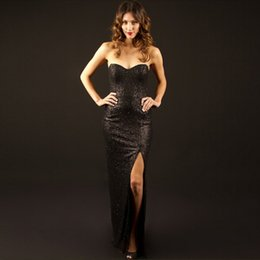 $enCountryForm.capitalKeyWord Canada - Newest Sequined Fabrics Women Evening Slit Gowns Sweetheart Design Factory Directly Sale Good Quality Dress Party