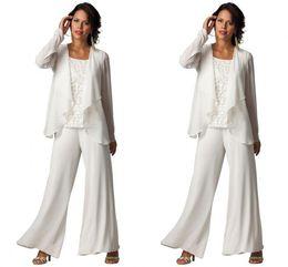Discount sky blue suit ruffles - New Fashion Cheap Elegant Chiffon Plus Size Three-Piece Tiered Ruffled Pant Suits Women's Long Sleeve Formal Evenin