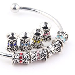Discount metal s925 - By DHL 120PCS Wholesale S925 Silver Beads Round Zircon Crystal European Charms Beads for Pandora Bracelets DIY Jewelry