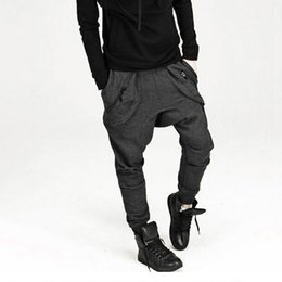 China Wholesale-New 2016 Mens Drop Crotch Pants: Hip Hop Sweatpants Trousers Harem Pants Joggers Outdoors Baggy Tapered Bandana Pants cheap tapered pants suppliers