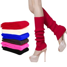 Chinese  Wholesale-Hot New Women Ladies Winter Warm High Knee Slouchy knitted Leg Warmers Crochet Knit Boot Socks Toppers Cuffs Candy Color Z1 manufacturers