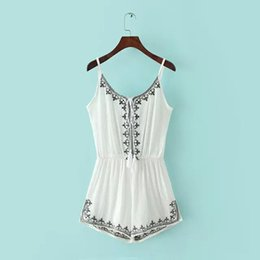 Salopette Floral De Dames Pas Cher-2016 Mode Jumpsuits Sexy Summer Rompers Femmes Jumpsuit Playsuit Broderie Gilets pour femmes Bodysuit Slim Ladies Vêtements
