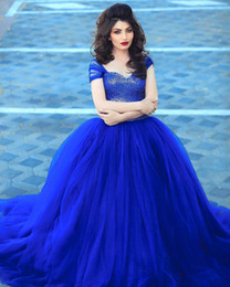$enCountryForm.capitalKeyWord NZ - Gorgeous Sequined Royal Blue Prom Dresses With Straps Pleated Ball Gown Pageant Gowns 2016 Evening Gowns Arabic Dubai
