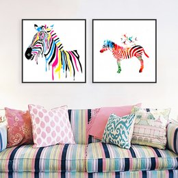 Zebra Print Art Australia - Modern Wildlife Colorful Zebra Cartoon Animal A4 Large Art Print Poster Abstract Wall Picture Canvas Painting No Frame Home Deco