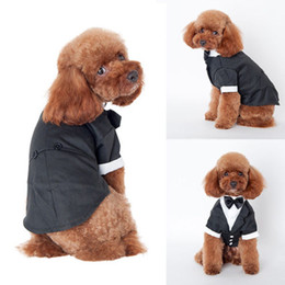 Cool Sweatshirt Jackets Canada - Cool Pet Dog Cat Clothing Wedding Party Suit Dog Clothes Tuxedo Bow Tie Puppy Clothes Coat Size S-XXL