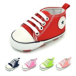 wholesale canvas high shoes Canada - 2017 infant Canvas Baby shoes anti-skip Slip-On breathable High first walking shoes for toddlers boys girls B601