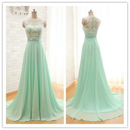 dress pick up lines 2018 - Elegant Sage Green Chiffon Bridesmaid Evening Dresses Real Photo A-line Lace Top Long Prom Dresses 2017 Zipper Back Cap