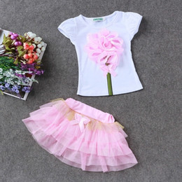 flower girl skirt top NZ - Summer Children clothing sets Baby girl Top+skirts 2pcs girl flower clothes set girl's suit Kids cute toddler girls outfits outwear tz-29