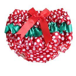 $enCountryForm.capitalKeyWord UK - Wholesale Christmas Baby Bloomer Red White Polka Dots Ruffle Girls Bloomers Satin Baby Kids Shorties Pant With Bow