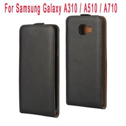 Discount samsung a3 cell phone covers - Genuine Flip Leather Case For Samsung Galaxy A310 A510 A710 2016 A3 A5 A7 Real Pouch Plain pocket Skin Cover Black Cell