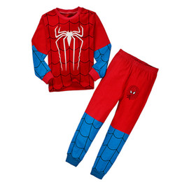 T-shirts Spiderman Pas Cher-Wholesale Boys Girls Ensembles de vêtements pour enfants Cartoon Spiderman Batman Superman Pyjamas Leggings 2 Set T-shirts Pantalons Vêtements pour enfants Vêtements