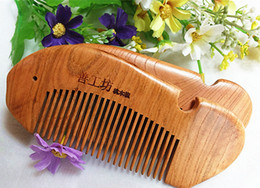 Discount smoothing curly hair - Natural wooden comb smooth evil anti-static 100 peach authentic guaranteed