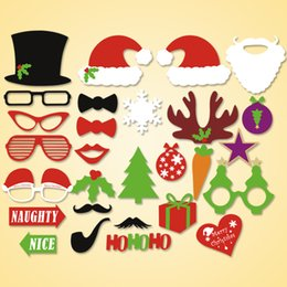 christmas photo props NZ - 1set 28pcs Christmas party Photo Props Moustache Hat Small Eyes Paper Beard Wedding Party Supplies Bachelorette Party Photo Booth