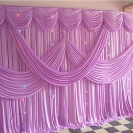 Discount silk backdrops - 3M*6M Ice Silk wedding backdrop curtains with swag wedding drapes Luxury wedding stage backdrop Props wedding Decoration