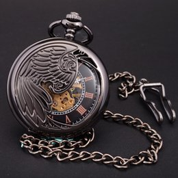 Pocket Clock Skeleton Canada - Wholesale-Antique Black Skeleton Phoenix Wings Carving Case Men Hand Wind Necklace Chain Fob Clock Fashion Hollow Mechanical Pocket Watch