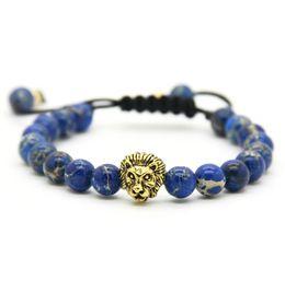 Clawed stones online shopping - Hot Sale Retail Men s Bracelets mm Stone Beads Gold Silver Plated Lion Head Braiding Bracelets