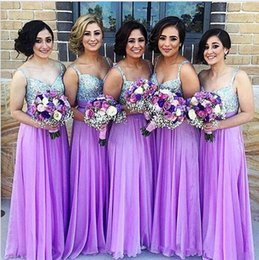 Barato Vestido De Dama De Honra Cintas Longo Roxo-Cheap vestidos de dama de honra roxos Long 2018 A Line Spaghetti Strap Sequined Chiffon Wedding Guest Dress Long Zipper Prom Party Vestidos