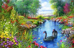 China New needlework Diy diamond painting cross stitch kits full resin round diamond embroidery Mosaic Home Decor swan in forest lake yx0105 cheap cross stitch paintings suppliers