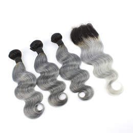 way lace closure brazilian NZ - Ombre 1B Grey Hair With Closure 4X4 Free Middle 3 Way Part Two Tone Brazilian Human Hair Weave With Lace Closure Body Wave