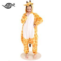 cda56d96c5 Wholesale-Shineye Giraffe Unisex Erwachsene Flanell Mit Kapuze Pyjamas  Cosplay Cartoon Niedlichen Tier Onesies Nachtwäsche Für Frauen Männer