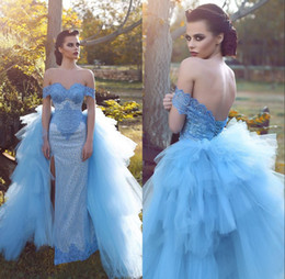 Sweetheart Sheath pageant dreSS online shopping - Gorgeous Sweetheart Off The Shoulder Long Prom Dresses Tulle Sheath Front Split Lace UP Back Formal Pageant Party Dresses