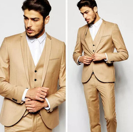 Morning suit sliM fit online shopping - Handsome Morning Gold Wedding Suits Dresses Slim Fit Mens Suits Groom Tuxedos Custom Dinner Business Formal Prom Suits Jacket Pants Vest