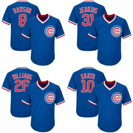 230b7850 ... Throwback Mens Chicago Cubs Jersey 10 Ron Santo 26 Billy Williams 31  Fergie Jenkins Blue Coolbase ...