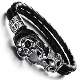 Halloween Ceramic Skull NZ - ock Trendy Creative Devil Skull Leather Wrap Bracelet Black Cubic Zircon Double Layer Bracelets Jewelry For Men 170816