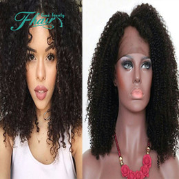 baby curly unprocessed lace wig NZ - Wholesale Beauty Human Hair Wigs 8A Grade Unprocessed Full Lace Wig   Lace Front Wigs Brazilian Kinky Curly For Black Women With Baby Hair