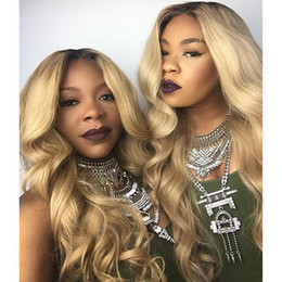 $enCountryForm.capitalKeyWord Australia - Full denstiy dark roots  blonde 2t ombre body wave synthetic lace front wigs glueless natural blonde heat resistant hair for women