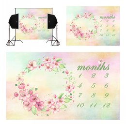 Digital Backgrounds Backdrops NZ - double tones flower blossoms calendar for newborn photography backdrops camera fotografica baby photo background digital studio vinyl props
