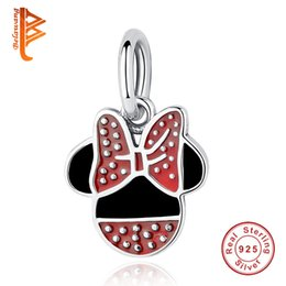 Wholesale BELAWANG Fashion Red Enamel Bow Knot Charm Beads Sterling Silver European Charms Fit Pandora Bangle Bracelet for Women Jewelry Making