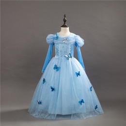 Chinese  kids Dresses Princess Cinderella Fancy Ball Party Wear Girl Beauty Halloween Christmas Costume Long sleeve blue girls Dress manufacturers
