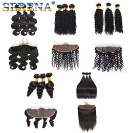 Discount body wave curly hair - Unprocessed Brazilian Straight Body Loose Deep Wave Curly 13x4 Lace Frontal Closures Peruvian Indian Malaysian Hair And