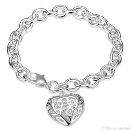 $enCountryForm.capitalKeyWord Canada - 925 Silver Plated Bracelet Solid Thick Bracelet with Hollow Heart Shaped Charms Bangle Bracelet Valentine's Day Gift High Quality