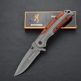 Browning DA43 Couteaux Pliants En Titane 3Cr13Mov 55HRC Poignée En Bois Tactique Camping Chasse Survie De Poche Utilitaire EDC Outils Collection Homme en Solde