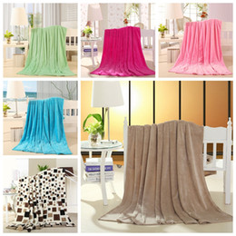 Portable Beds Adults Canada - free shipping solid color Polyester flannel fleece blanket on the bed home adult blanket warm sofa blanket portable bedspread