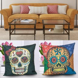Skull car pillow online shopping - 18 quot Colourful Skull Head Cotton Linen Throw Pillow Case Cushion Case Cover Square Decorative Pillows for Home Car Sofa
