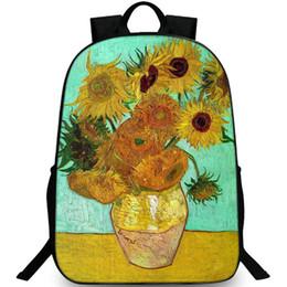 Paintings Vases UK - 12 sunflowers into vase backpack Van Gogh daypack Painting schoolbag Leisure rucksack Sport school bag Outdoor day pack