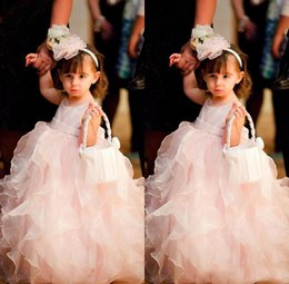 Robes De Fantaisie Mignonnes Pas Cher-Design de fantaisie Vente la plus chaude Nouvelle mode Jewel Ankle Length Ruffles Baby Pink Organza Cute Ball Gown Little Kids Lovely Flower Girl Dresses