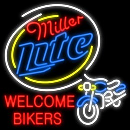 Miller lite bar lights dhgate uk miller lite welcome bikers neon sign custom real glass tuble light bar disco ktv club pub display sport advertisement racing sign 24x24 aloadofball Gallery